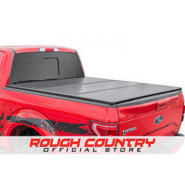 Rough Country Hard Tri-Fold Tonneau Bed Cover 45214550   Tonneau Cover