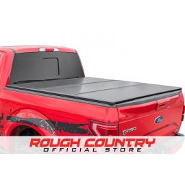Rough Country Hard Tri-Fold Tonneau Bed Cover 45309550   Tonneau Cover